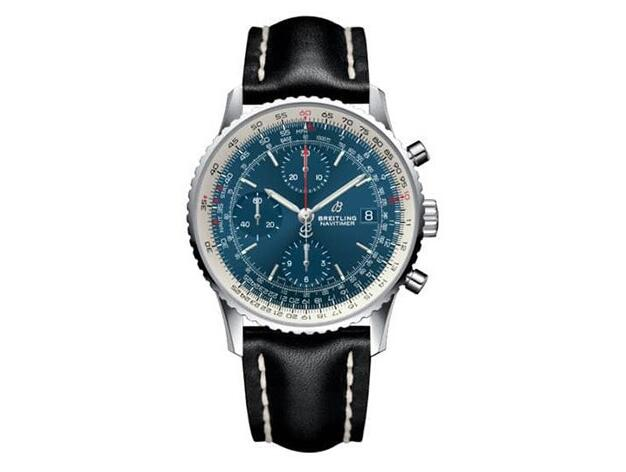 The red second hand adds a lively brilliance on the blue dial.